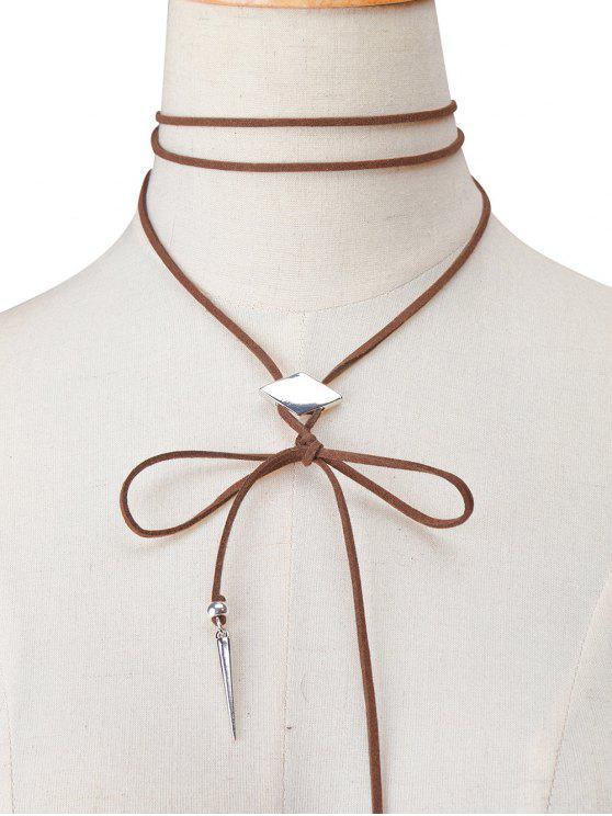Collier choker en velours embelli rhombe faux cuir - Brun