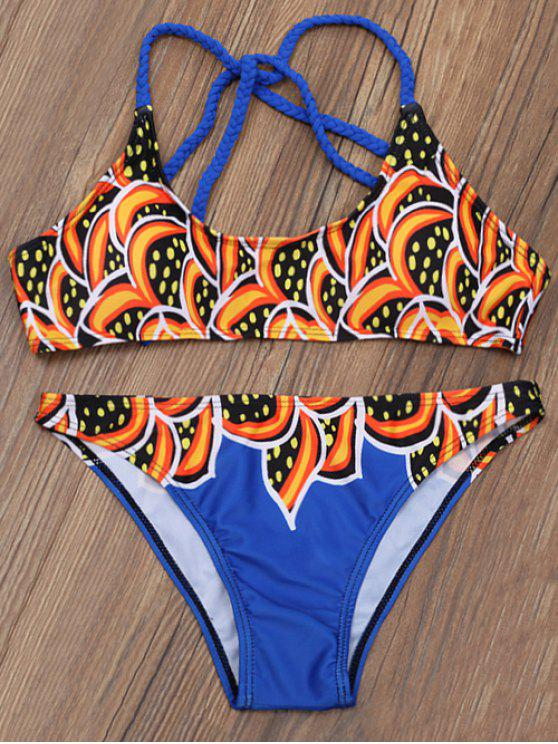 trendy Printed Braided Strap Bikini - MULTICOLOR XL