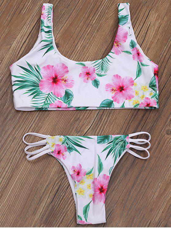 shops Zip Front Closure Floral Bikini Set - WHITE XL