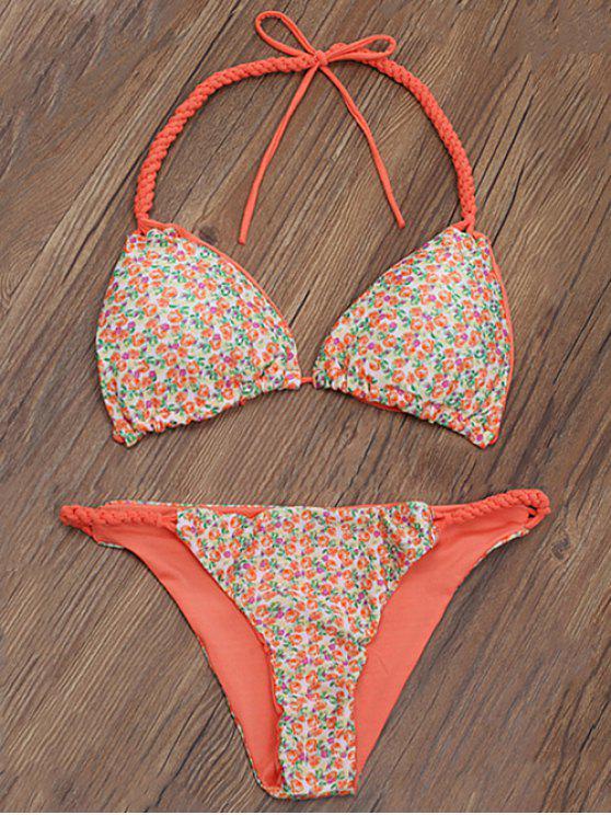 unique Braided Tiny Floral Thong Bikini - ORANGE M