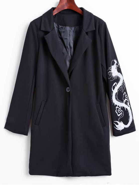 shops Lapel Collar Dragon Embroidered Coat - BLACK M