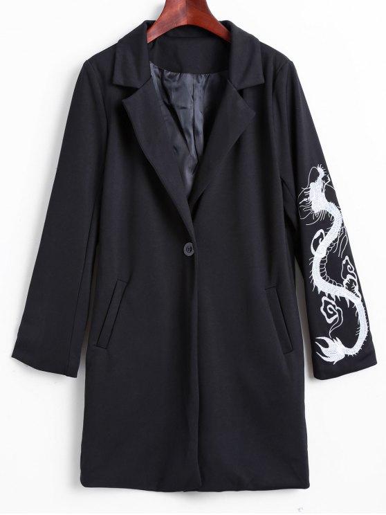 shops Lapel Collar Dragon Embroidered Coat - BLACK M
