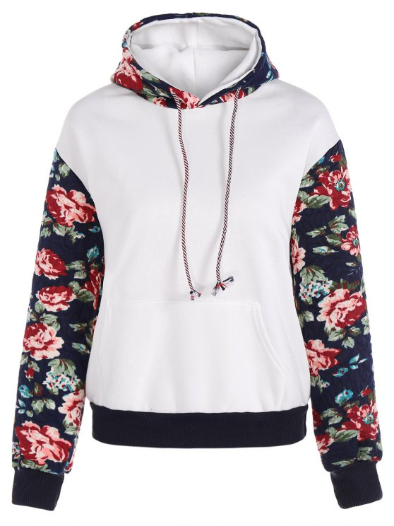 trendy Floral Spliced Long Sleeve Pullover Hoodie - WHITE M