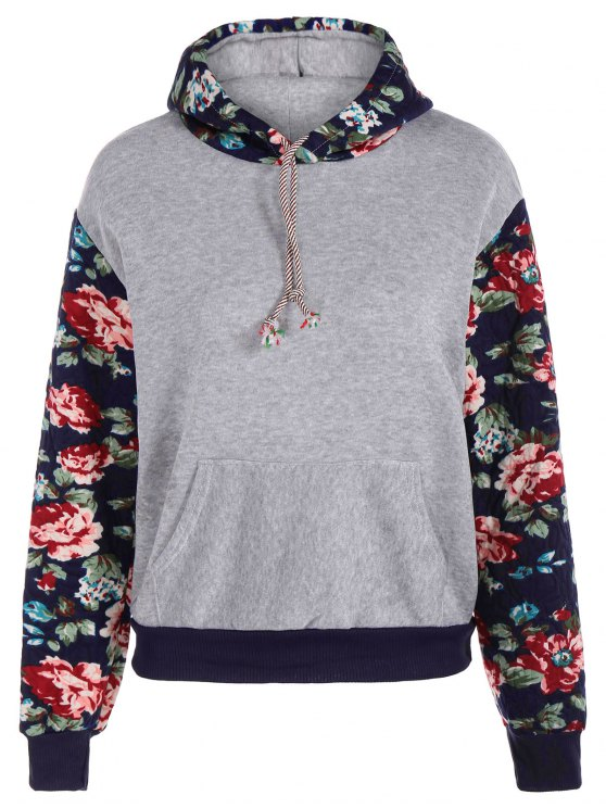 sale Floral Spliced Long Sleeve Pullover Hoodie - LIGHT GRAY XL