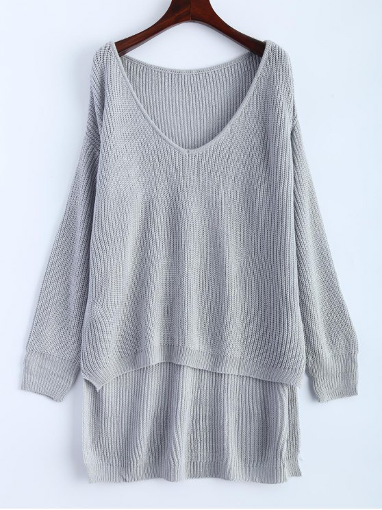 ladies High Low Oversized Pullover Sweater - GRAY ONE SIZE