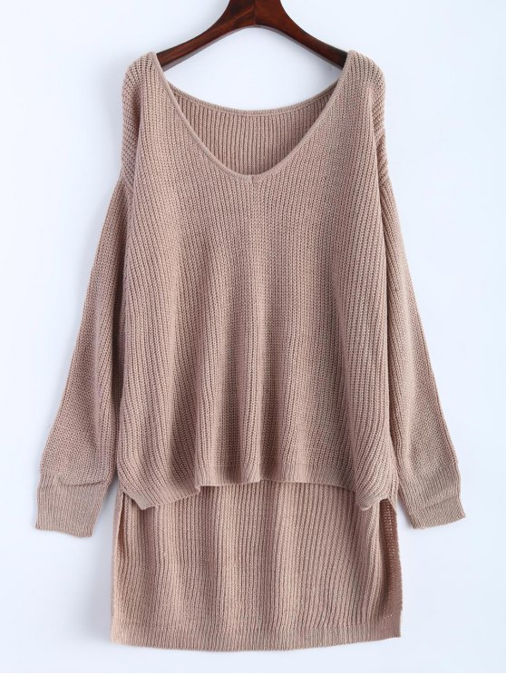 lady High Low Oversized Pullover Sweater - KHAKI ONE SIZE