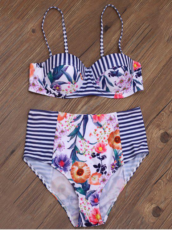 La raya de la impresión floral de la alta subida del bikini - Multicolor S