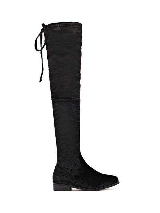 online Tie Up Zip Flat Heel Thigh Boots - BLACK 40