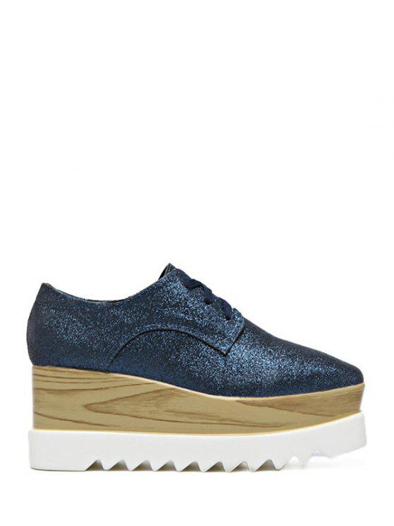 outfits Sequined Tie Up Square Toe Wedge Shoes - DEEP BLUE 40