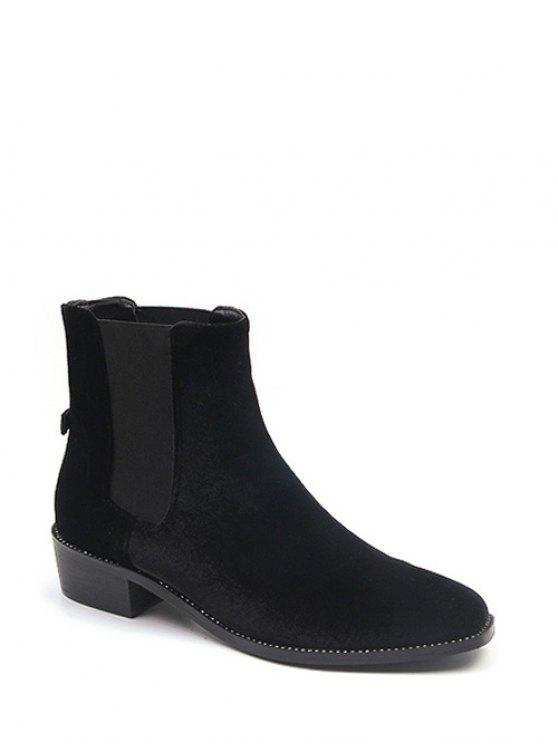 sale Splicing Flat Heel Elastic Band Ankle Boots - BLACK 38