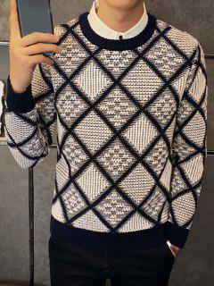Textured Crew Neck Argyle Pullover Sweater - Gray M
