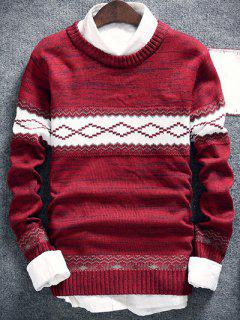 Geometric Pattern Space Dye Crew Neck Sweater - Burgundy M