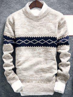 Suéter Cuello Redondo Espacio De Tinta Estampado Geométrico - Blancuzco L
