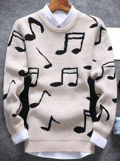 Music Note Pattern Crew Neck Sweater - Off-white L