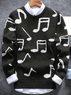 Music Note Pattern Crew Neck Sweater - Army Green M