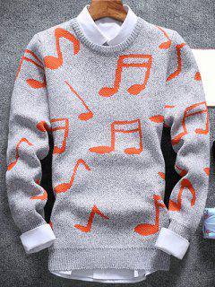 Music Note Pattern Crew Neck Sweater - Hellgrau M