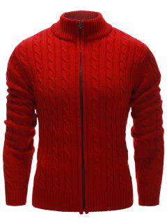 Stand Collar Twist Zip Up Cardigan - Red Xl