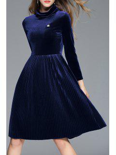 A Line Pleated Velour Dress - Pearl Indigo Blue S