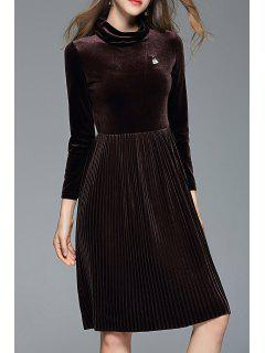A Line Pleated Velour Dress - Coffee S