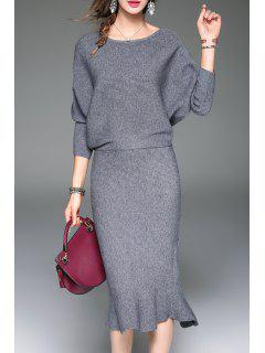 Batwing Sweater With Mermaid Skirt - Gray