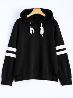 Stripes Pullover Hooded Sweatshirt - Black S