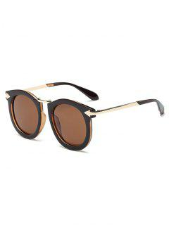 Arrow Mark Oval Sunglasses - Tea-colored