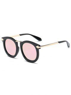Arrow Mark Oval Mirrored Sunglasses - Pink