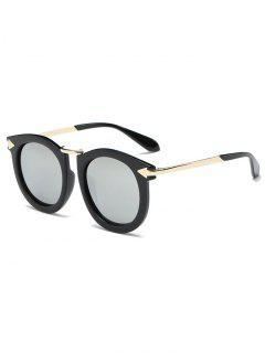 Arrow Mark Oval Mirrored Sunglasses - Silver