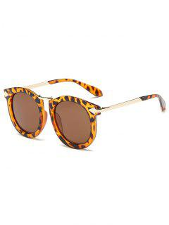 Arrow Mark Leopard Pattern Oval Sunglasses - Golden