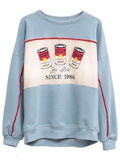 Crew Neck Pepper Pot Graphic Sweatshirt - Light Blue