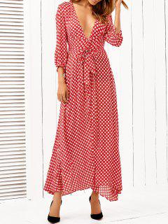 Polka Dot Plongeant Neck Maxi Dress - Rouge S