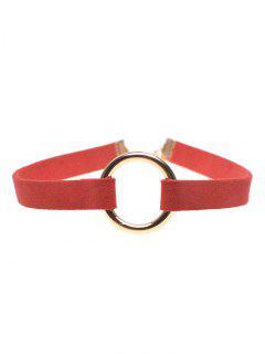 Velvet Strip Copper Coil Choker Necklace - Red