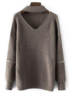 Zippered Sleeve Choker Jumper - Dark Khaki