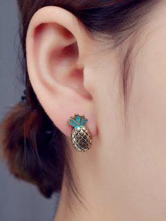 Enameled Pineapple Stud Earrings - Bronze-colored