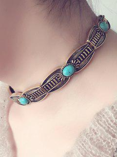 Alloy Faux Turquoise Choker Necklace - Golden