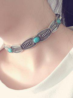 Alloy Faux Turquoise Choker Necklace - Silver