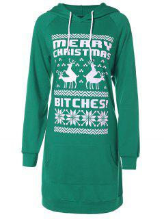Printed Christmas Hoodie - Green M