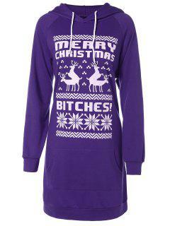 Printed Christmas Hoodie - Purple M