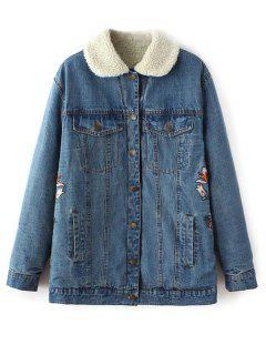 Borg Lined Embroidered Denim Jacket - Denim Blue S