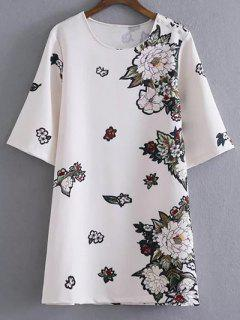 Round Neck Floral Straight Shift Dress - White M