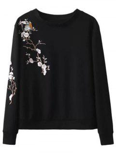 Floral Bird Embroidered Sweatshirt - Black S