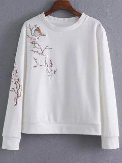 Floral Bird Embroidered Sweatshirt - White M
