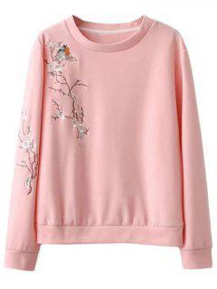 Pájaro Floral Camiseta Bordada - Rosa S