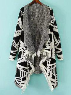 Geometric Pattern Shawl Collar Cardigan - White And Black S