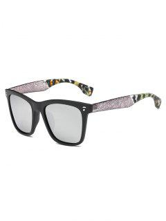 Crack And Camouflage Panel Mirrored Sunglasses - Silver