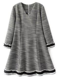 Frill Trim Long Sleeve A Line Dress - Gray S