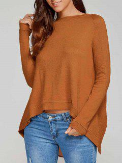 High Low Back Slit Knitwear - Camel Xl