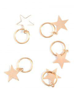 5 PCS Adorn Star Hair Accessories - Golden