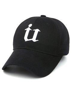 Letter U Baseball Hat - Black