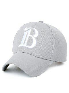 B Letter Baseball Hat - Light Gray